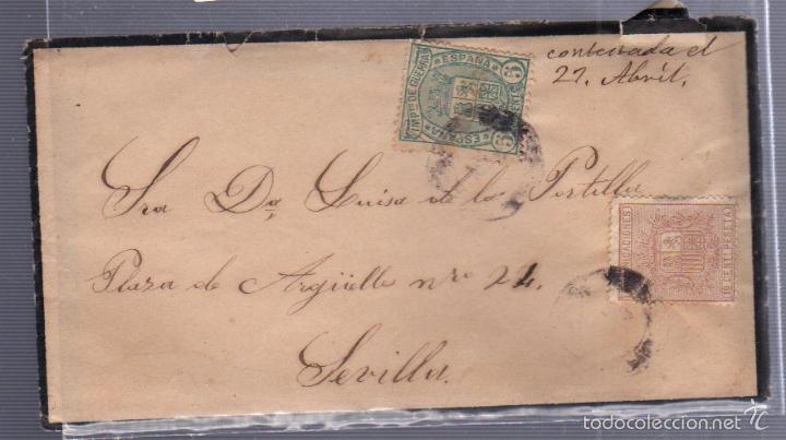 CARTA DIRIGIDA A SEVILLA. VER SELLO (Sellos - España - Alfonso XII de 1.875 a 1.885 - Cartas)