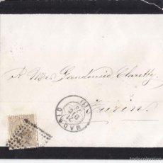 Sellos: SOBRE DE MADRID A ITALIA. 1878. SELLO DE ALFONSO XII DE 25 CÉNTIMOS. FECHADOR TRÉBOL. Lote 58327635