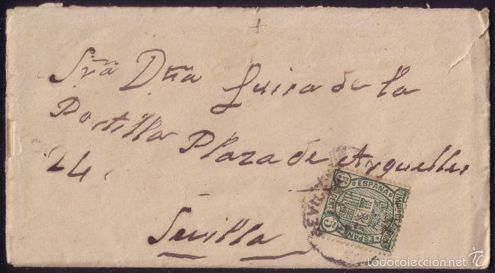 ESPAÑA. (CAT. 154). 1876. SOBRE DE CORREO INTERIOR DE SEVILLA. 5 CTS. IMPUESTO DE GUERRA. RARÍSIMO. (Sellos - España - Alfonso XII de 1.875 a 1.885 - Cartas)