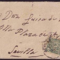 Sellos: ESPAÑA. (CAT. 154). 1876. SOBRE DE CORREO INTERIOR DE SEVILLA. 5 CTS. IMPUESTO DE GUERRA. RARÍSIMO.. Lote 60798815