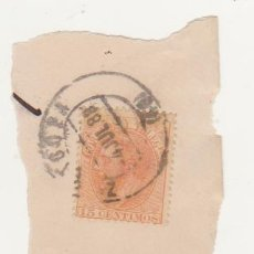 Sellos: ALFONSO XII. FRAGMENTO. CON EDIFIL 210. FECHADOR DE ZARAGOZA DEL 4 JUL. 1988.. Lote 60914403