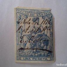 Sellos: SELLO FISCAL 10º AÑO 1876 UNA PESETA. Lote 61724284
