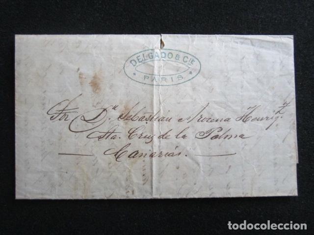 AÑO 1877. CARTA DE PARÍS A PALMA. DELGADO Y CIA. ENTREGADA EN MANO. (Sellos - España - Alfonso XII de 1.875 a 1.885 - Cartas)