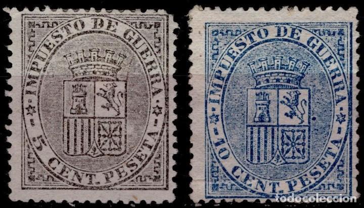 EDIFIL 141-142,IMPUESTO DE GUERRA,ESCUDO DE ESPAÑA,AÑO 1874,CAT.35,50 EUROS. (Sellos - España - Alfonso XII de 1.875 a 1.885 - Nuevos)