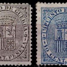 Sellos: EDIFIL 141-142,IMPUESTO DE GUERRA,ESCUDO DE ESPAÑA,AÑO 1874,CAT.35,50 EUROS.. Lote 68259937