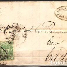 Sellos: CARTA DE 1876 BARCELONA A CADIZ FRANQUEO Nº 164 Y154 ( 27,00 € ). Lote 69531729