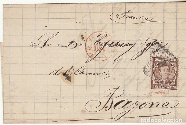 SELLO 177 . A BAYONA 1878. (Sellos - España - Alfonso XII de 1.875 a 1.885 - Cartas)