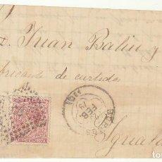Sellos: FRONTAL : SELLOS 188 Y 192.. BURGOS A YGUALADA AÑO 1879.. Lote 75477751