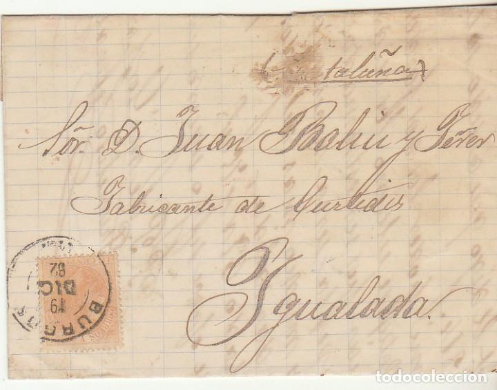 SELLO 210 : BURGOS A YGUALADA. 1882. (Sellos - España - Alfonso XII de 1.875 a 1.885 - Cartas)