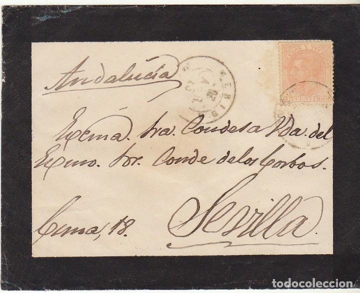 SELLO 210 : (SOBRE DE LUTO) MERIDA A SEVILLA. 1883.....SRA CONDESA...... (Sellos - España - Alfonso XII de 1.875 a 1.885 - Cartas)