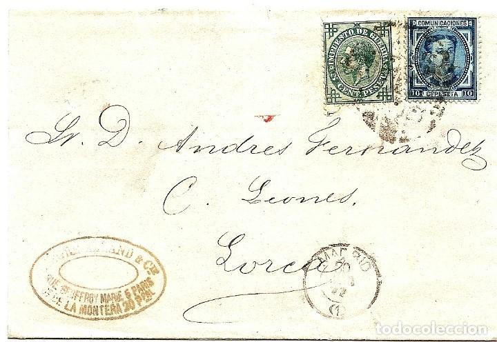 ENVUELTA CIRCULADA DE MADRID A LORCA (MURCIA) - IMPUESTO GUERRA Y COMUNICACIONES AÑO 1877 (Sellos - España - Alfonso XII de 1.875 a 1.885 - Cartas)