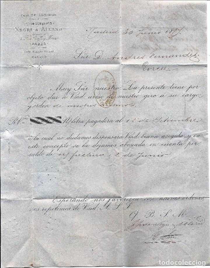 Sellos: ENVUELTA CIRCULADA DE MADRID A LORCA (MURCIA) - IMPUESTO GUERRA Y COMUNICACIONES AÑO 1877 - Foto 2 - 76520427