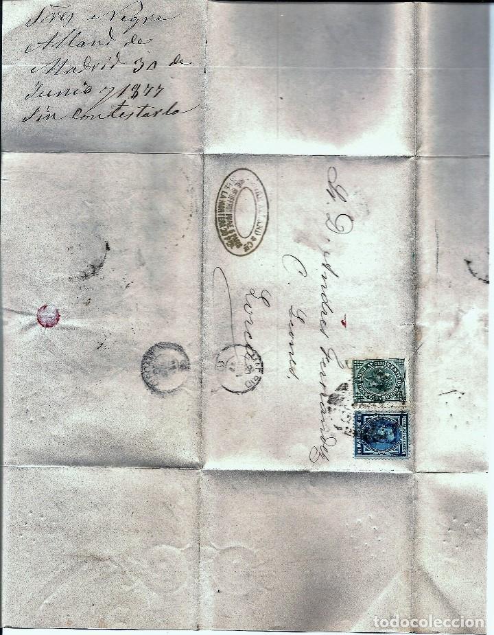 Sellos: ENVUELTA CIRCULADA DE MADRID A LORCA (MURCIA) - IMPUESTO GUERRA Y COMUNICACIONES AÑO 1877 - Foto 3 - 76520427