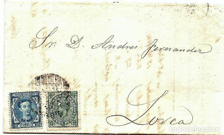 ENVUELTA CIRCULADA DE BARCELONA A LORCA (MURCIA) - IMPUESTO GUERRA Y COMUNICACIONES AÑO 1877 (Sellos - España - Alfonso XII de 1.875 a 1.885 - Cartas)