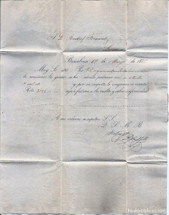 Sellos: ENVUELTA CIRCULADA DE BARCELONA A LORCA (MURCIA) - IMPUESTO GUERRA Y COMUNICACIONES AÑO 1877 - Foto 2 - 76521471