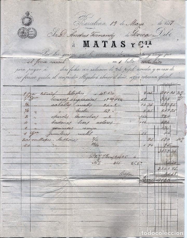 Sellos: ENVUELTA CIRCULADA DE BARCELONA A LORCA (MURCIA) - IMPUESTO GUERRA Y COMUNICACIONES AÑO 1877 - Foto 3 - 76521471