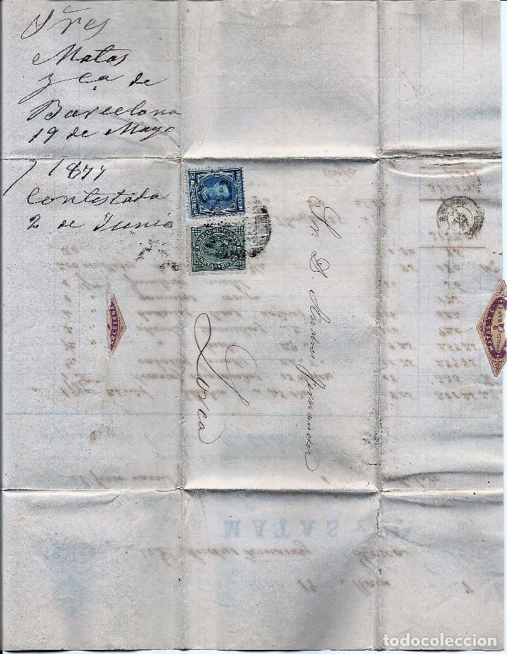 Sellos: ENVUELTA CIRCULADA DE BARCELONA A LORCA (MURCIA) - IMPUESTO GUERRA Y COMUNICACIONES AÑO 1877 - Foto 4 - 76521471