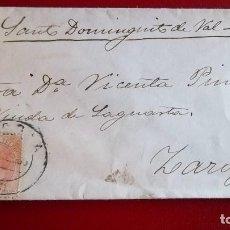 Sellos: CARTA SORIA A ZARAGOZA FECHADOR TIPO PUENTE HISTORIA POSTAL MATASELLOS . Lote 76547599