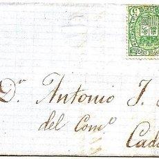Sellos: ENVUELTA CIRCULADA DE CERVERA DEL RIO ALHAMA A CADIZ - IMPUESTO GUERRA Y COMUNICACIONES AÑO 1876. Lote 76880327