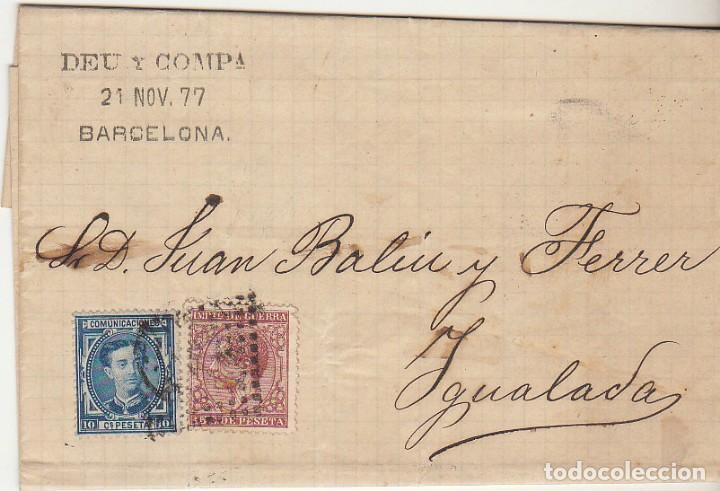 SELLOS 175 Y 188. BARCELONA A YGUALADA. 1877. (Sellos - España - Alfonso XII de 1.875 a 1.885 - Cartas)