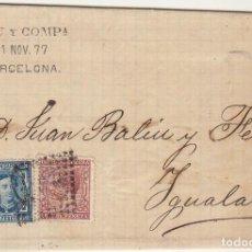 Sellos: SELLOS 175 Y 188. BARCELONA A YGUALADA. 1877.. Lote 77154845