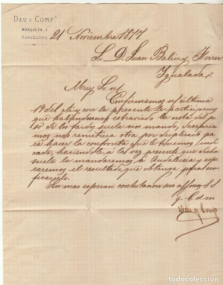 Sellos: Sellos 175 y 188. BARCELONA a YGUALADA. 1877. - Foto 3 - 77154845
