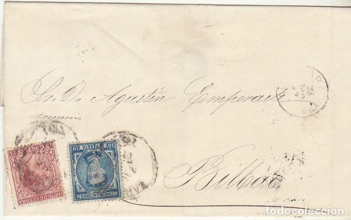 ENVUELTA : SELLOS 175 Y 188. ZARAGOZA A BILBAO. (Sellos - España - Alfonso XII de 1.875 a 1.885 - Cartas)
