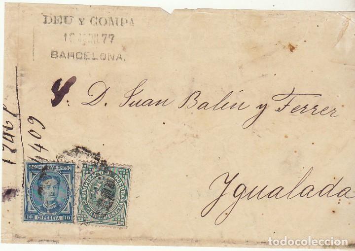 FRONTAL : SELLOS 175 Y 183. BARCELONA A YGUALADA. 1877. (Sellos - España - Alfonso XII de 1.875 a 1.885 - Cartas)