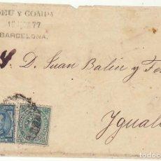 Sellos: FRONTAL : SELLOS 175 Y 183. BARCELONA A YGUALADA. 1877.. Lote 77157905