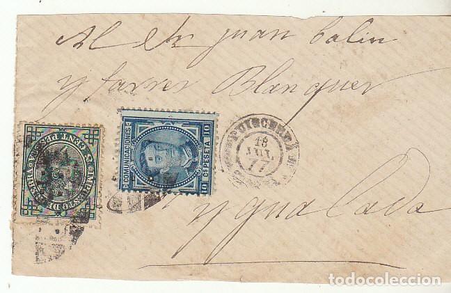 FRONTAL : SELLOS 175 Y 183. PUIGCERDA A YGUALADA. 1877. (Sellos - España - Alfonso XII de 1.875 a 1.885 - Cartas)