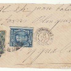 Sellos: FRONTAL : SELLOS 175 Y 183. PUIGCERDA A YGUALADA. 1877.. Lote 77161777
