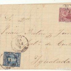 Sellos: FRONTAL : SELLOS 175 Y 188 : BURGOS A YGUALADA AÑO 1878.. Lote 77165441