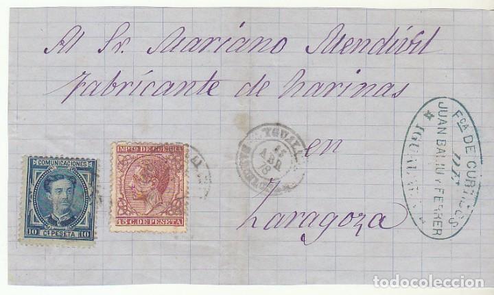 FRONTAL : SELLOS 175 Y 188. YGUALADA A ZARAGOZA. 1878. (Sellos - España - Alfonso XII de 1.875 a 1.885 - Cartas)