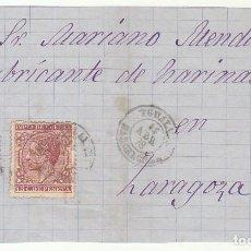 Sellos: FRONTAL : SELLOS 175 Y 188. YGUALADA A ZARAGOZA. 1878.. Lote 77723109