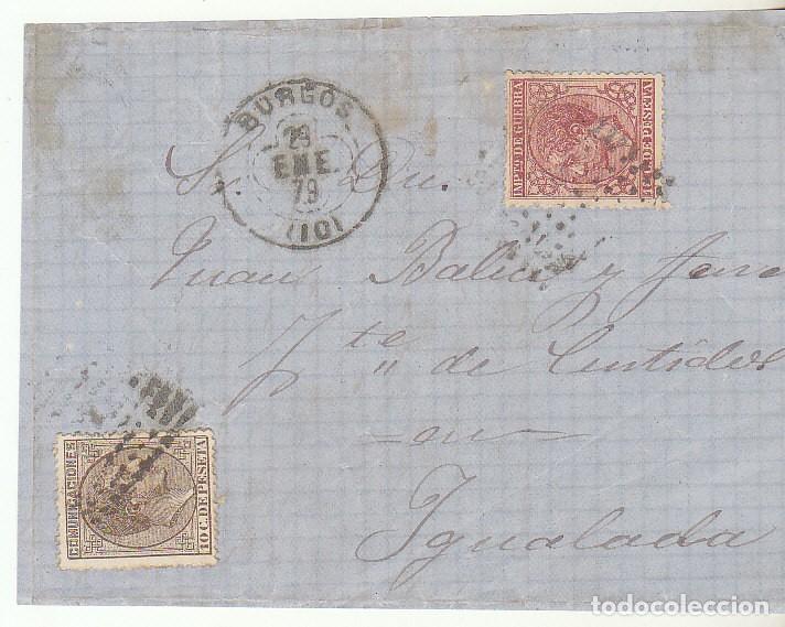 FRONTAL : SELLOS 188 Y 192. BURGOS A YGUALADA. 1879. (Sellos - España - Alfonso XII de 1.875 a 1.885 - Cartas)