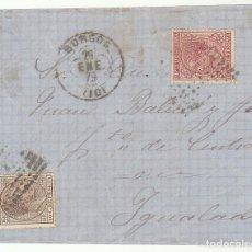Sellos: FRONTAL : SELLOS 188 Y 192. BURGOS A YGUALADA. 1879.. Lote 77734129