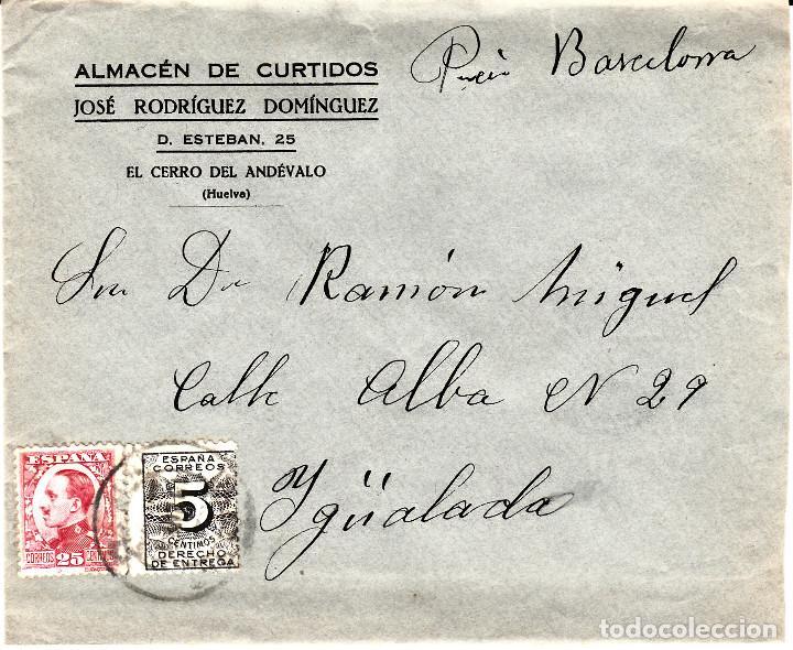 SOBRE COMERCIAL DE EL CERRO DE ANDÉVALO -HUELVA- DE CURTIDOS JOSÉ RODRIGUEZ SOMINGUEZ (Sellos - España - Alfonso XII de 1.875 a 1.885 - Cartas)