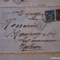 Sellos: CARTA CIRCULADA, MARSEILLE - VALENCIA, PAUL TISNE, TIMBRE, SELLOS DE FRANCIA 15 Y 10 CENTIMOS, 1881. Lote 80810251