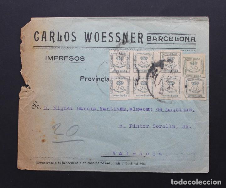 ESPAÑA 1876, 8 SELLOS EN SOBRE PUBLICITARIO CARLOS WOESSNER - BARCELONA, EDIFIL 173 (Sellos - España - Alfonso XII de 1.875 a 1.885 - Cartas)