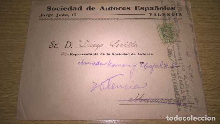 SOCIEDAD DE AUTORES ESPAÑOLES. VALENCIA (Sellos - España - Alfonso XII de 1.875 a 1.885 - Cartas)