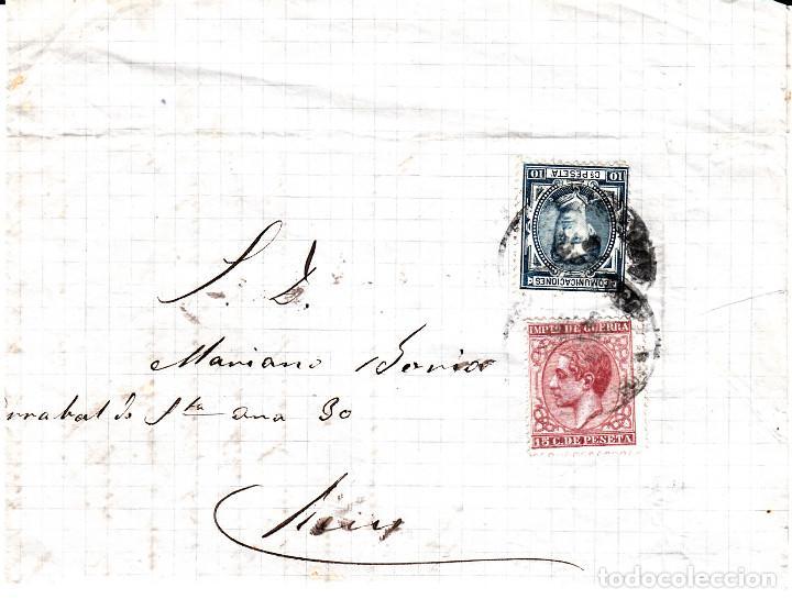 CARTA COMPLETA DE SABADELL A REUS CON FRANQUEO DE IMPUESTO DE GUERRA Y COMUNICACIONES 1878 (Sellos - España - Alfonso XII de 1.875 a 1.885 - Cartas)