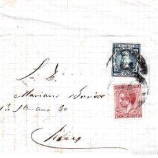 Sellos: CARTA COMPLETA DE SABADELL A REUS CON FRANQUEO DE IMPUESTO DE GUERRA Y COMUNICACIONES 1878. Lote 87656912