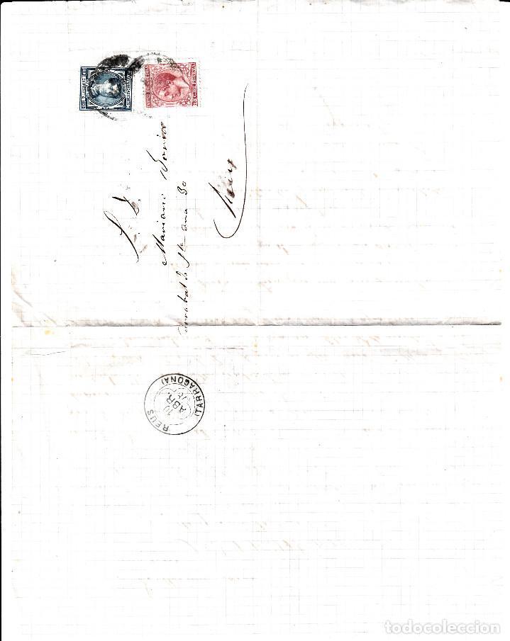 Sellos: CARTA COMPLETA DE SABADELL A REUS CON FRANQUEO DE IMPUESTO DE GUERRA Y COMUNICACIONES 1878 - Foto 2 - 87656912