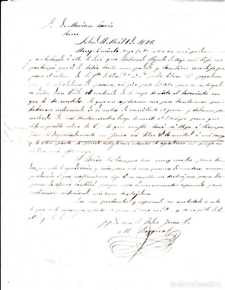 Sellos: CARTA COMPLETA DE SABADELL A REUS CON FRANQUEO DE IMPUESTO DE GUERRA Y COMUNICACIONES 1878 - Foto 3 - 87656912