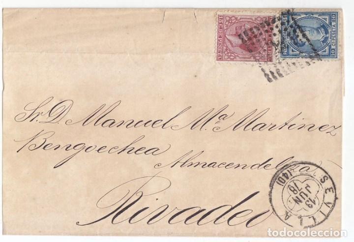 IMPUESTO DE GUERRA SEVILLA. A RIBADEO 1878. MATASELLOS TRÉBOL (Sellos - España - Alfonso XII de 1.875 a 1.885 - Cartas)