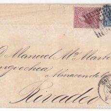 Sellos: IMPUESTO DE GUERRA SEVILLA. A RIBADEO 1878. MATASELLOS TRÉBOL. Lote 89415680