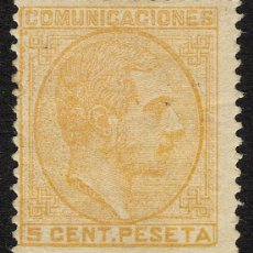 Sellos: ESPAÑA 1878 EDIFIL 191 * - 5 CTS NARANJA. CAT. 68€ ALFONSO XII. Lote 95290303