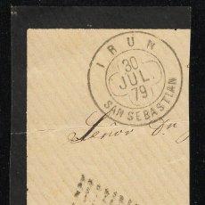 Sellos: ESPAÑA 1879 EDIFIL 204 25 C. AZUL. FRAGMENTO. MATASELLO IRUN / SAN SEBASTIAN ALFONSO XII.. Lote 95290323