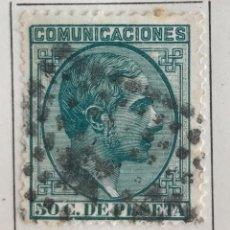 Sellos: SELLO DE ESPAÑA REINADO DE ALFONSO XII AÑO 1878-USADO-EDIFIL 196, 50 C.VERDE.DENTADO.. Lote 99218771