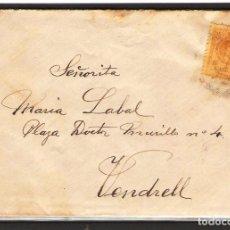 Sellos: CARTA DE 1915 DE BARCELONA A VENDRELL FRANQUEO ALFONSO XIII MEDALLON. Lote 102101519